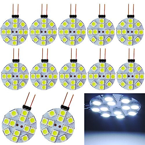 EverBrightt 12-Pack White Round G4 5050 12SMD LED RV Camper Light Bulb Home Reading Light Marine Lamps DC 12V