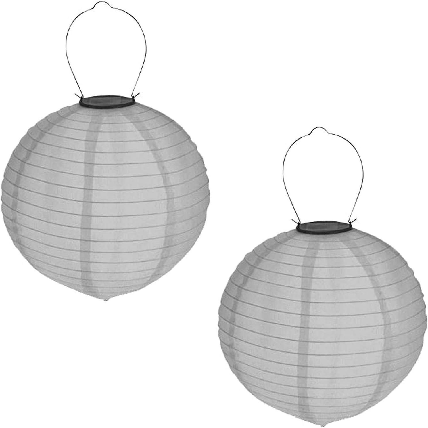 2er Set Solar LED Lampion Party Garten Laterne /ø 20cm Wei/ß Deko Lampenschirm Lampe Kugel Gartenlampion