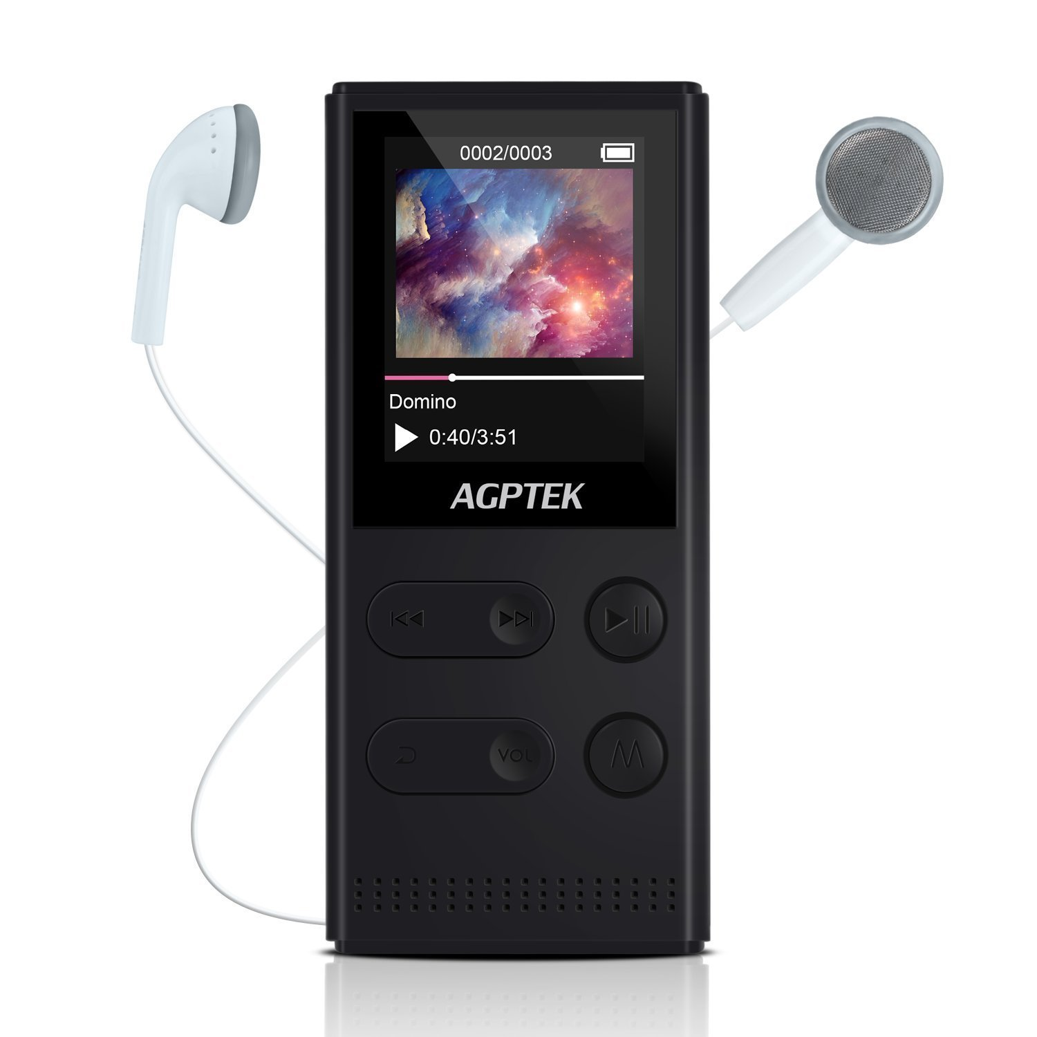 AGPTEK A22 8GB Solar Power Mp3 Player with FM Radio/Voice Recorder, 60 Hours Playback and Expandable Up to 128GB, Lossless Music Player with 1.8-inch TFT Display, Black