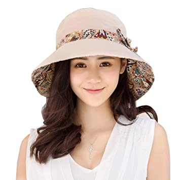 44fde08a Metyou Womens Sun Hat Summer Foldable Beach Cap Wide Brim UV Protection  Outdoor dome hats (