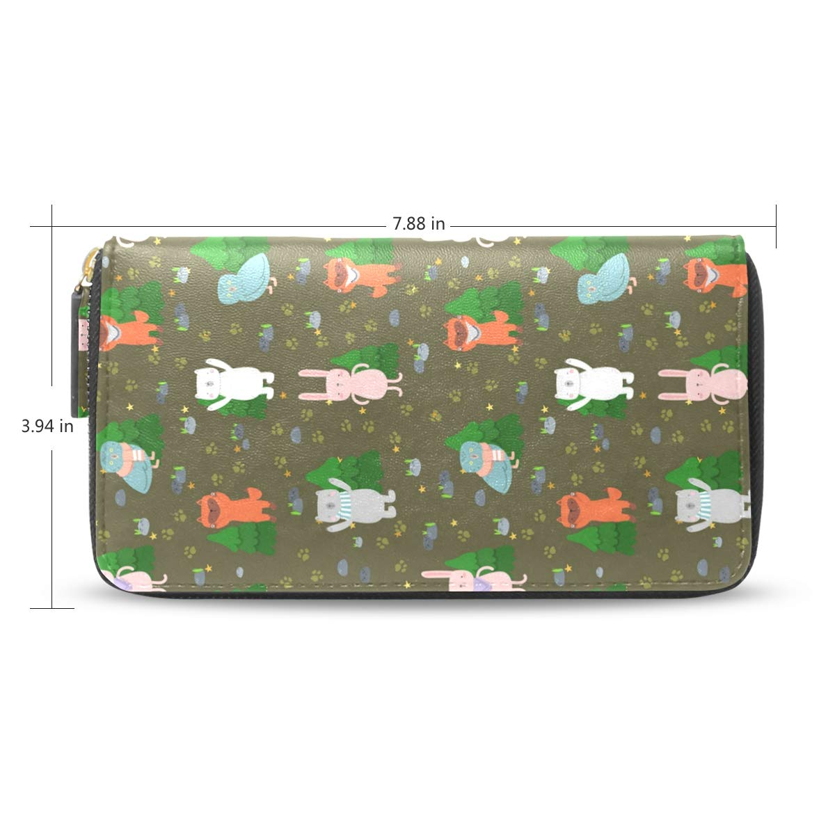 Women Dig Dinosaur With Tree Leather Wallet Large Capacity Zipper Travel Wristlet Bags Clutch Cellphone Bag