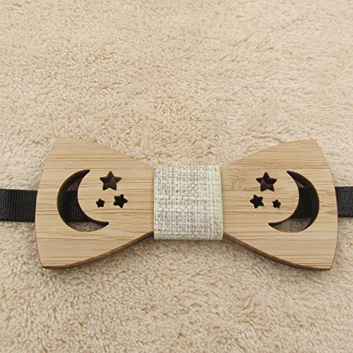 Bamboo Cufflinks (Children Kids Boys Bow Tie Bamboo Wooden Ties For Wedding Pre Party Tied Clip Child Neck Bow Ties Moon star)