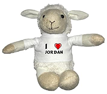 Oveja blanco de peluche con Amo Jordan en la camiseta