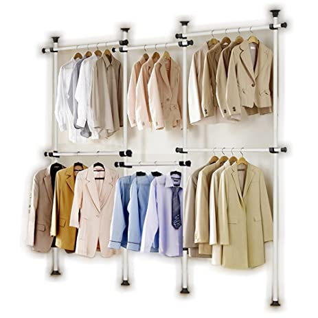 Portable Indoor Garment Rack Tools Free DIY Coat Hanger Clothes Wardrobe 4  Poles 6 Bars.