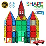 Toys : Shapemags 124 Piece Set, Made With Power+Magnets, 100 Clear Color Tiles, Includes 24 StileMags, 12X12 Stabilizer Plate and Car Base