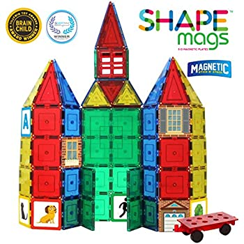 Shapemags 124 Piece Set, Made With Power+Magnets, 100 Clear Color Tiles, Includes 24 StileMags, 12X12 Stabilizer Plate and Car Base