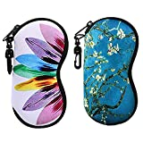 xhorizon LL1 [2 Pcs] Sunglasses Soft Case Ultra Light Neoprene Zipper Eyeglass Case w/Hook To