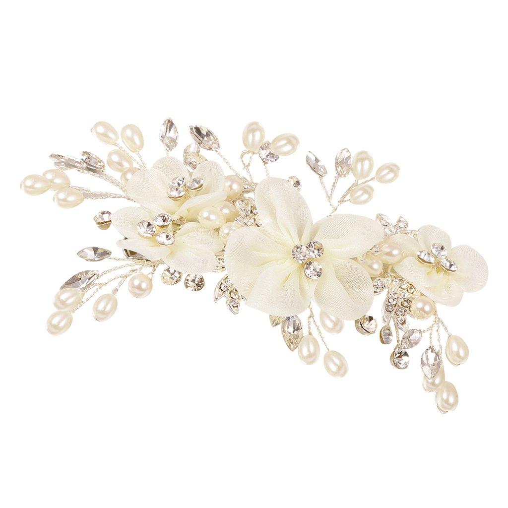 MonkeyJack Romantic Diamante Pearls Flower Hair Clip Slide Clip Headpiece for Wedding Bride Girls