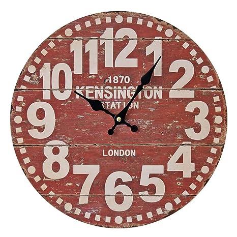 Reloj de Pared Vintage/Reloj Digital de Moda Grande de Madera/Silencio Sin tictac
