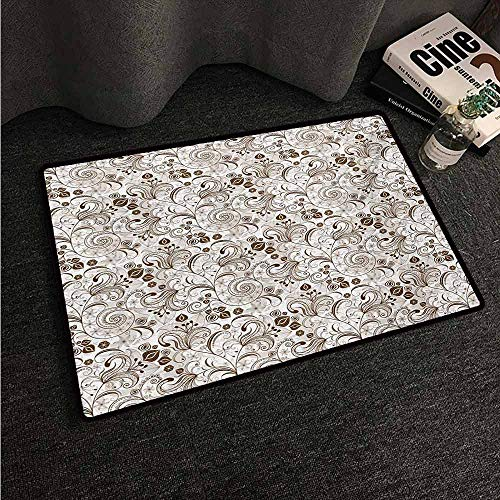 HCCJLCKS Interior Door mat Chocolate Classical Victorian Flowers and Leaves Abstract Arrangement with Vintage Look Easy to Clean Carpet W16 xL24 Brown White ()