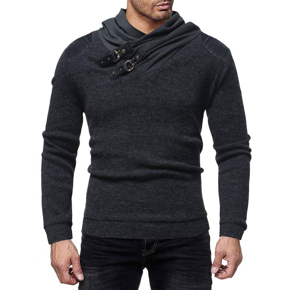 PASATO Men's Autumn Winter Classic Casual Leather Patchwork Long Sleeve Knit Sweater Top Blouse Pure Color Clothes(Dark, M)