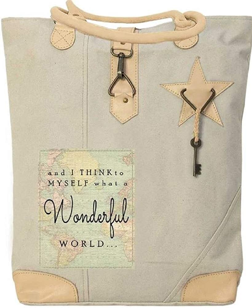 Inspirational Canvas Tote with Leather Trim Recycled Materials Metal Key What a Wonderful World
