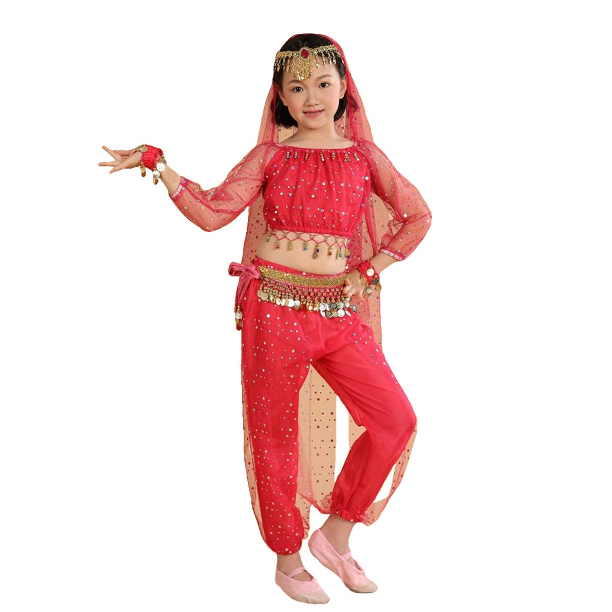 Maylong Girls Genie Harem Pants Belly Dance Outfit Halloween Costume Waist Wrap DW77