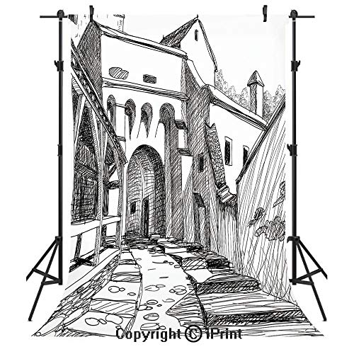 Medieval Decor Photography Backdrops,Medieval Citadel Sketch House of Legendary Vampire Dracula Old Mystical Tales Art Work,Birthday Party Seamless Photo Studio Booth Background Banner 10x20ft,Black -