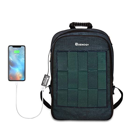 e1129a8b8fa9 Renogy Solar Panel Powered Backpack Water Resistant Laptop Bag 20L Capacity  5.6W with USB Charging