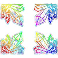 Angoily 4Pcs Dekorativa Regnbågsfönster Diamond Form Holographic Prismatic Etched Glas Effekt Fönster Klistermärken Glas…