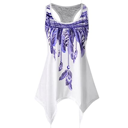0b184be0294a8 Amazon.com  Dacawin Fashion Womens Casual Lace Panel Asymmetrical Feather  Print Vest Tank Tops Shirt (Purple