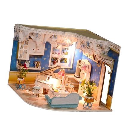 Amazon Com Fityle 1 24 Diy Handicraft Miniature Project Wooden