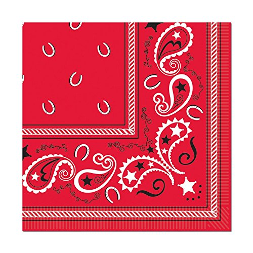 Beistle Club Pack Western Theme Party Design Red Bandana Luncheon Size Paper Napkin, Box of 192 Printed Napkins ()