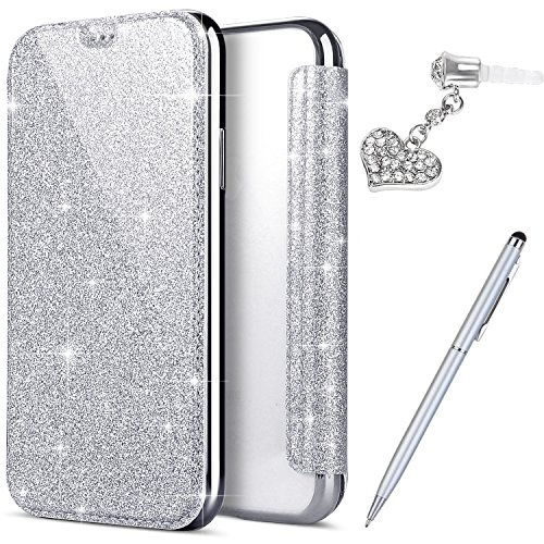 iPhone X Case,iPhone X Cover,ikasus Crystal Shiny Glitter Plating TPU PU Leather Flip Wallet Pouch Bookstyle Cover & Card Slots Protective Case Cover +Touch Pen Dust Plug for Apple iPhone X,Silver