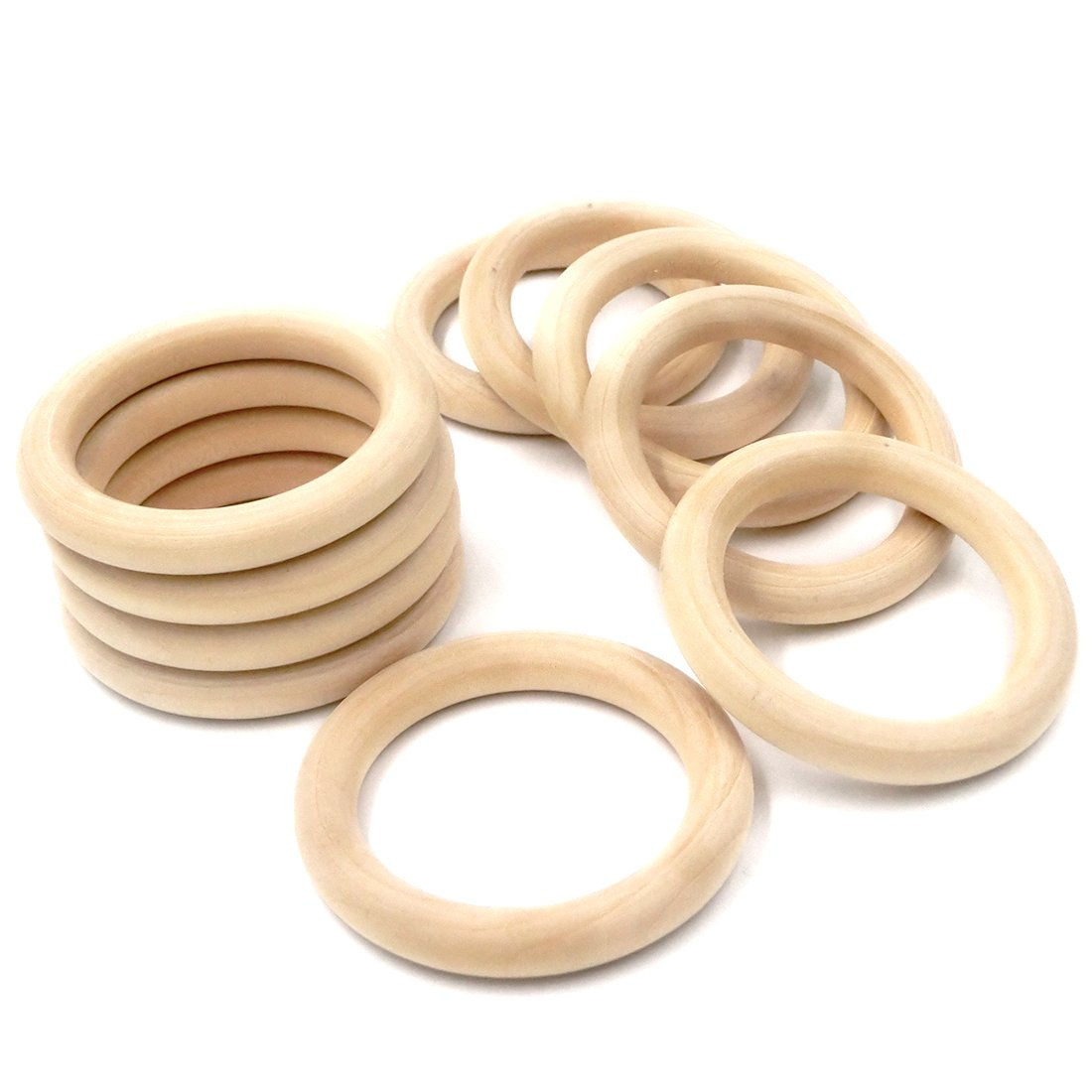 Coskiss 10pcs Beb/é de la dentici/ón de madera Anillo de madera de 68 mm de di/ámetro exterior 2,67 pulgadas 10 mordedores que lanzan juegos DIY anillo de collar y pulsera Accesorios
