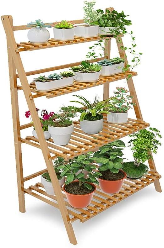 Soporte De Bambú De La Planta 4 Tier Plegable Organizador De La Escalera Estante De La Exhibición De Flores Estante para Home Patio Jardín Jardín Balcón: Amazon.es: Jardín