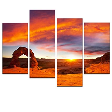 Large Size Landscape Canvas Wall Art,Arches National Park,Delicate Arch In  Sunset,