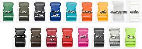 Jajasio 10 Steckschnalle 25mm in 17 Farben Steckschließer für Gurtband Klickverschluss / Farbe: 90 – grau
