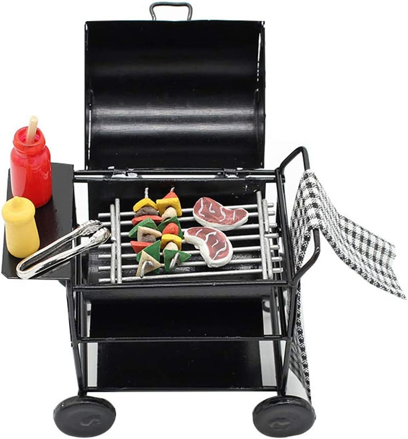 Doll House Accessories,Dollhouse Kitchen Furniture Foods Barbecue Miniature BBQ Grill Roasting Oven Set Decor Accessories Pretend Play