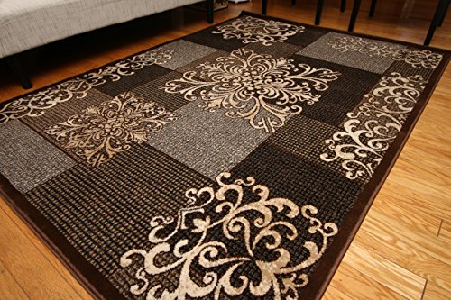 Feraghan/New City feraghan4031brown_10x13 Contemporary Modern Flowers Wool Area Rug, 9