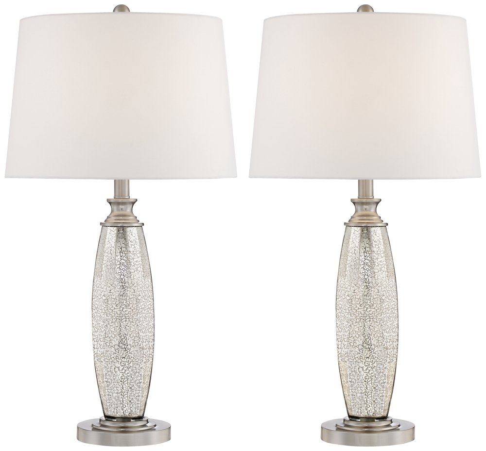 "Carol Modern Table Lamps Set of 2 Mercury Glass Column White Drum Shade for Living Room Family Bedroom Bedside Nightstand - 360 Lighting - Each lamp is 28"" high overall. Shade is 13"" across the top x 15"" across the bottom x 10"" high. Base is 6"" wide x 1"" high. Weigh 4.5 lbs each. Each lamp uses one maximum 150 watt standard base bulb (not included). On-off switch on socket. Set of two contemporary modern table lamps from the Carol collection by 360 Lighting. - lamps, bedroom-decor, bedroom - 615Imq3SxmL -"