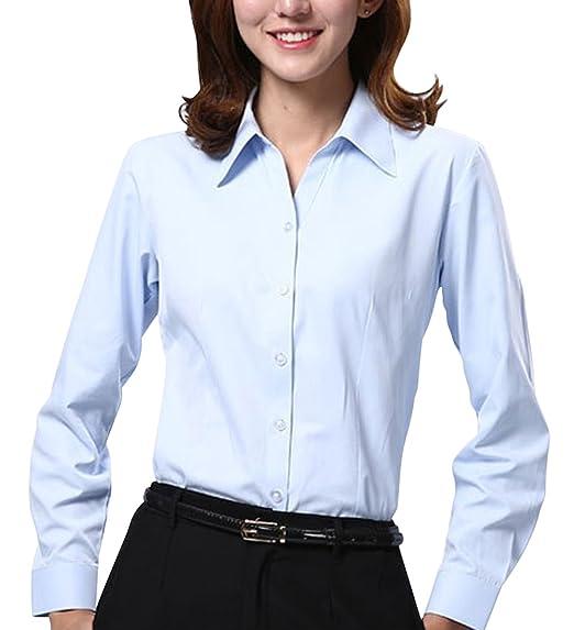 2fb56d4dadbe Dioufond Women V-Neck Long Sleeve Button Down Shirt Formal Work Wear Blouse  Tops(