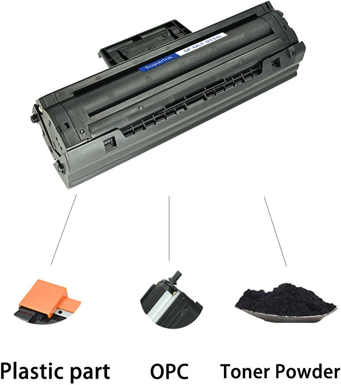 SuperInk High-Yield Compatible Toner Cartridge Replacement for Samsung MLT-D111L D111L to use with Xpress SL-M2020 SL-M2021W SL-M2022 SL-M2070W SL-M2071 SL-M2074FW SL-M2026 Printer Black, 1-Pack