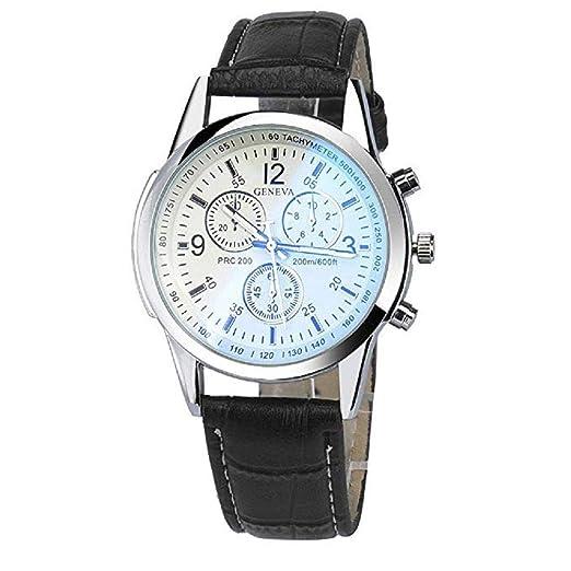 Reloj de Cuarzo para Hombres, BLU-Ray Interior de Cristal de Tres Ojos, Esfera Redonda de Seis Puntos A la Venta Reloj analógico de Moda Casual para Hombres ...