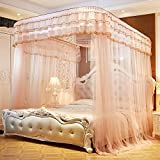 CUSHIONLIU Guide Rail Expansion Mosquito Nets Single Door Princess Wind Floor Style Jade color 1.8 2.2m bed