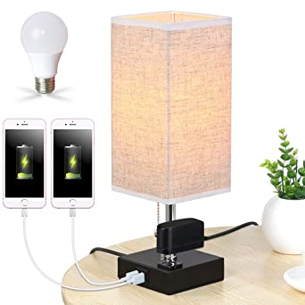 Lifeholder Table Lamp Nightstand Lamp Built In Dual Usb Charging