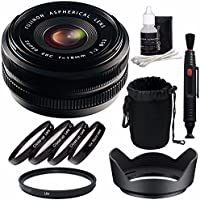 Fujifilm 18mm f/2.0 XF R Lens + 52mm +1 +2 +4 +10 Close-Up Macro Filter Set with Pouch + 52mm Multicoated UV Filter Bundle 5