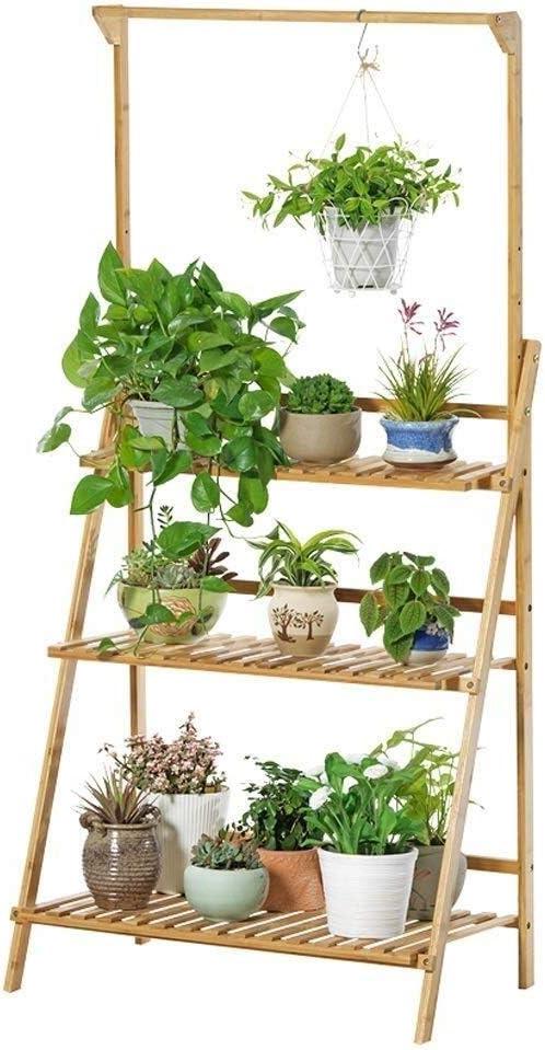 フラワーラダーディスプレイラック木製屋内バルコニー吊りバスケット植木鉢スタンド(サイズ:100センチ) Wooden flower stand (Size : 50CM)
