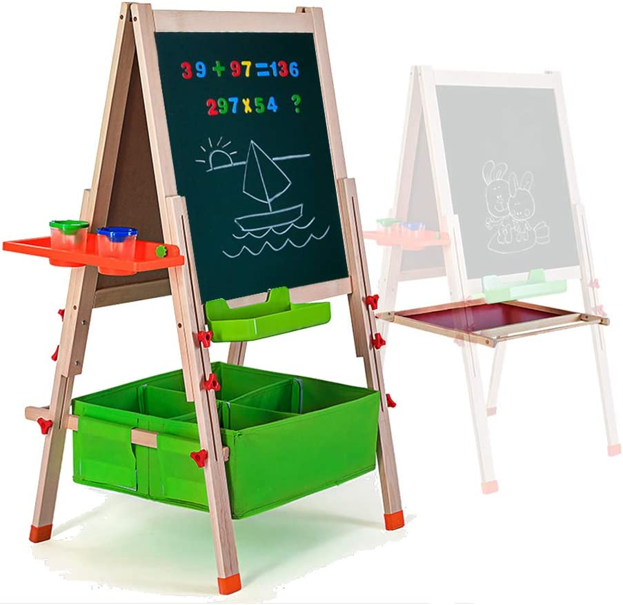Amazon Com Gimilife Deluxe Easel For Kids Folding Wooden Art Easel With Chalkboard Whiteboard And Storage Bins Or Tray Standing Easel With Magnetic Letters For Early Education Wood Fit For 3 14 Years Old