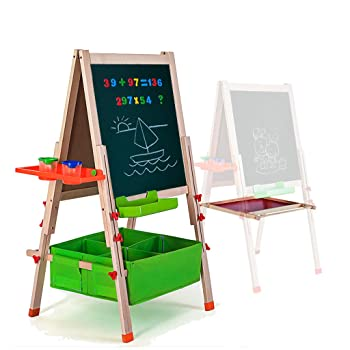 Gimilife Deluxe Folding Wooden Kid Easel