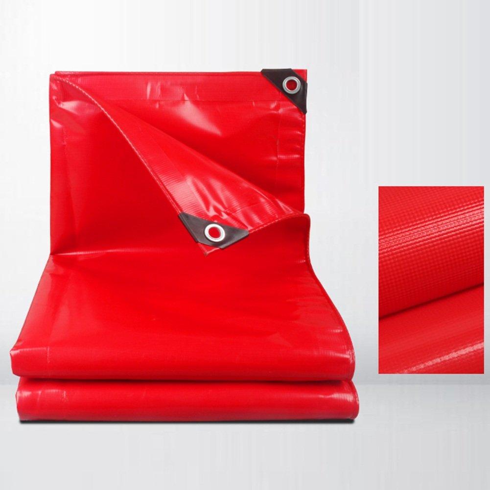 PENGFEI オーニング ターポリン 防水 屋外 キャンプ 日焼け止め シェード布 車 貨物 防塵の 耐摩耗性 耐高温性 PVC、 厚さ0.45MM、 500 G/M² (色 : 赤, サイズ さいず : 5x7m) B07DCTLPQH 5x7m|赤 赤 5x7m