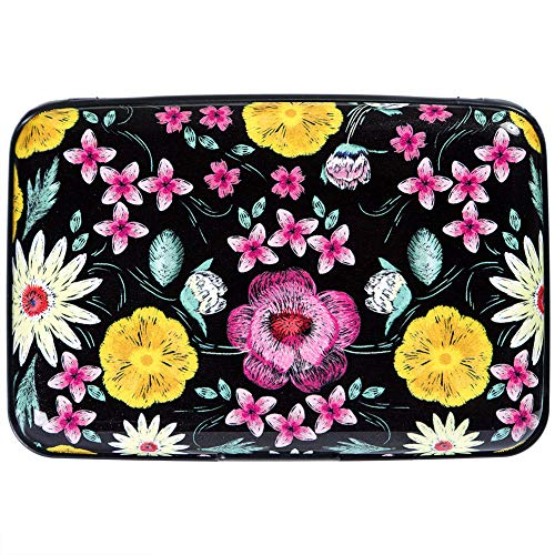 Metal Business Card Case Holder - Aluminum Wallet RFID Blocking Slim Metal Business ID Credit Card Holder Hard Case Embroidery Fantasy Flowers