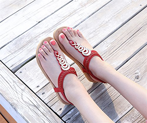 fond Double 35 Ethniques Chaussures Femmes Red Vent Taille Plage 40 Clip Plat Sandales xie Confortable Toe Femmes Appartements Chaussures Boho SYTxE0