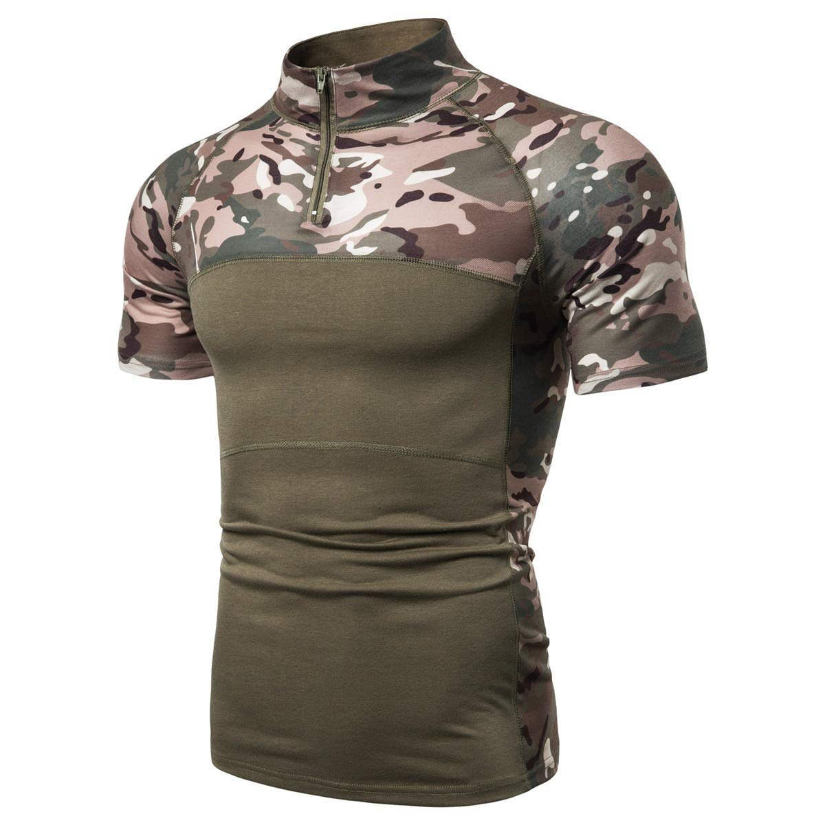 Mens Stand Collar Zip Up Camo Long-Sleeve Bodybuilding T-Shirts