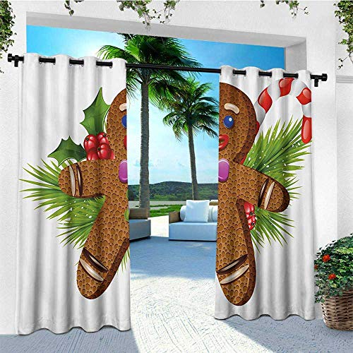 - leinuoyi Gingerbread Man, Outdoor Curtain Extra Long, Cute Tasty Pastry on Coniferous Branches Candy Cane and Holly Berry, for Pergola W120 x L108 Inch Brown Green Red
