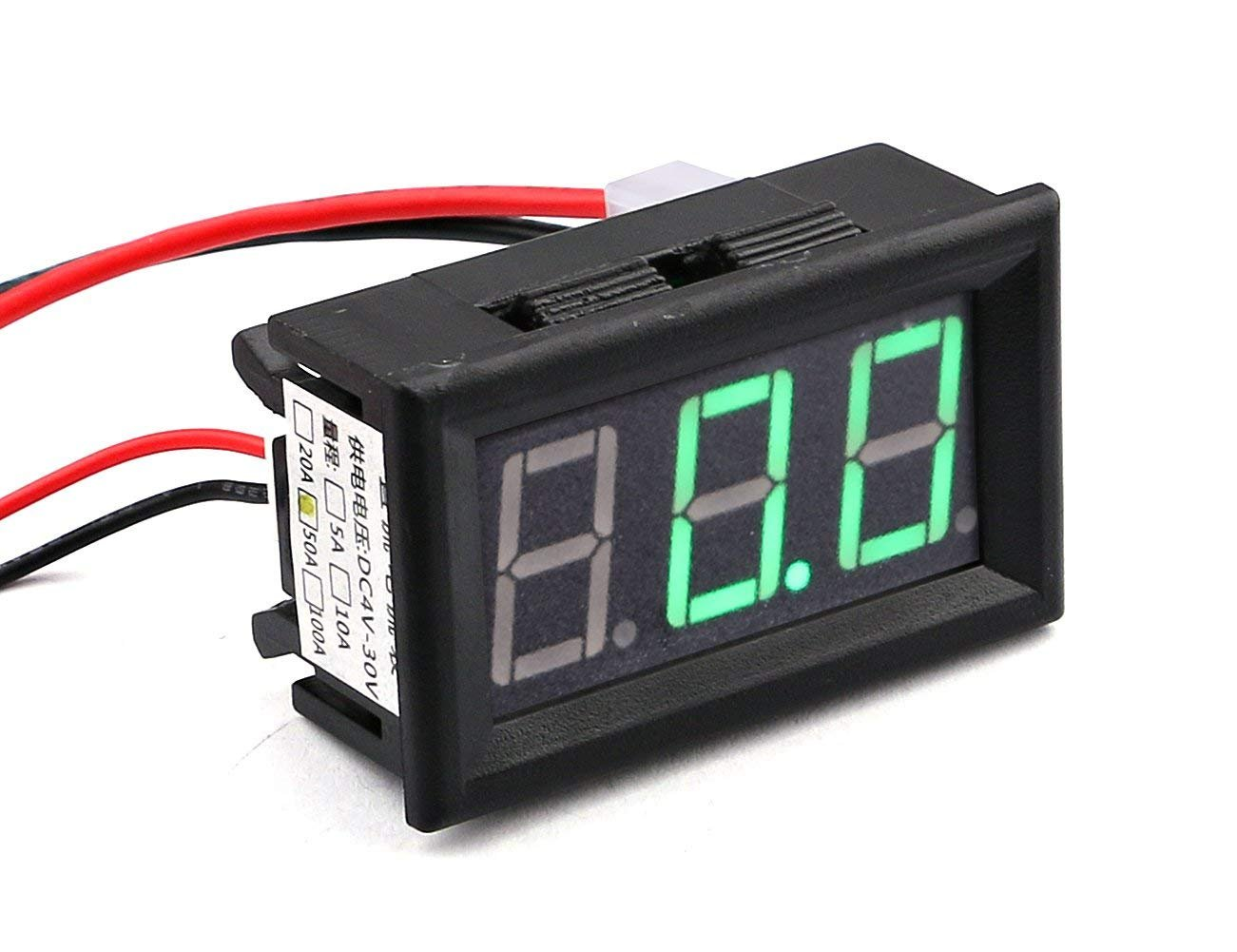 'Yeeco 3 Digits 0,56 Verde LED High Precision DC digitale amperometro amp Panel Meter 0 – 50 a Current Meter Ampere Monitor Tester indicatore 4 – 30 V Powered con Shunt 'Yeeco 3 Digits 0