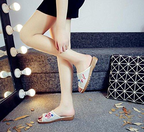 modo caduta suola etnico stile di DESY Peony tendine femminile comodo sandali ricamato vibrazione beige scarpe WwqqPY8t