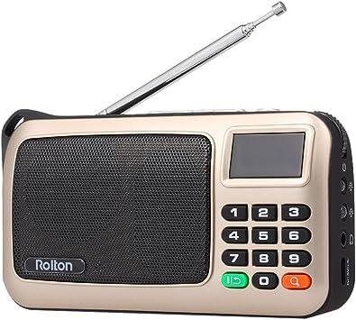 Rolton FM Radio Digital Portátil USB con Cable Equipo Altavoz Receptor estéreo HiFi con Linterna LED Pantalla Soporte TF Música Play