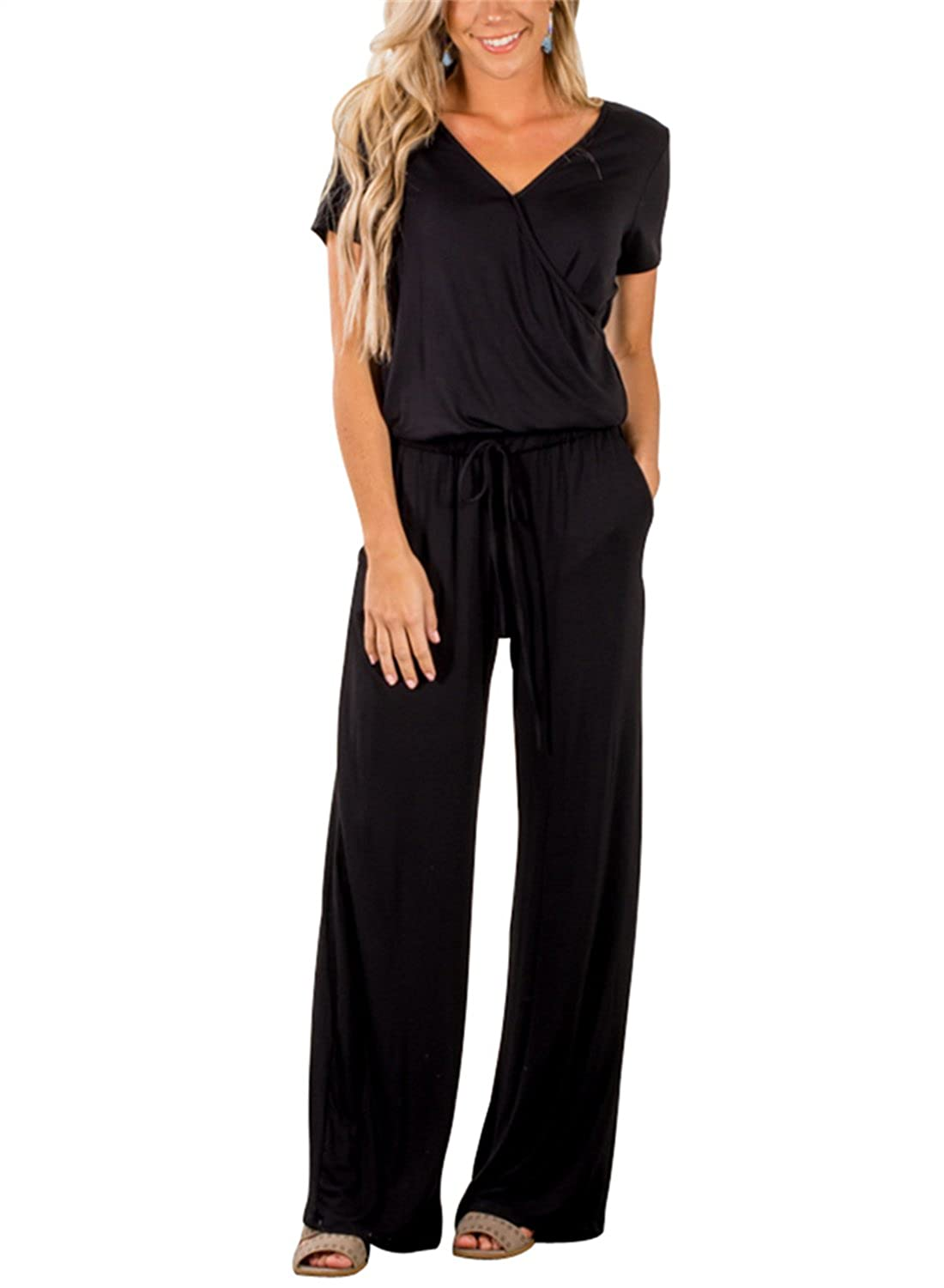 46bdfba7a499 Top1  Asyoly Women Casual Short Sleeve V Neck Loose Wide Legs Jumpsuits Long  Pants Rompers Pockets