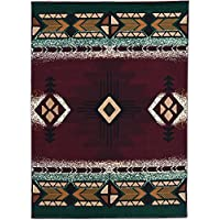 Rugs 4 Less Collection Southwest Native American Indian Area Rug Design in Burgundy Green and Maroon (52x72) 318 burgundy